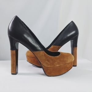 Dolce Vita Brown Black Suede Color Block Pumps 9